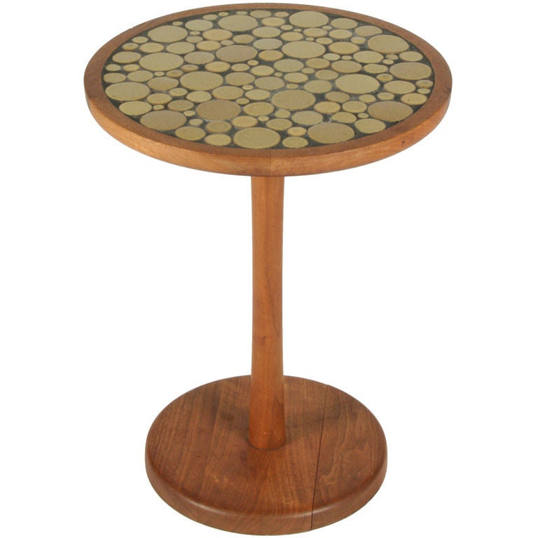 Ceramic Tile Top Pedestal Occasional Table by Gordon Martz