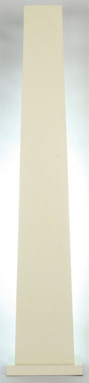 American Ivory Lacquered Backlit Obelisk Pedestal For Sale