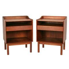 Pair of Teak Nightstands by Peter Hvidt and Olga Mølgaard for Søborg Møbelfabrik