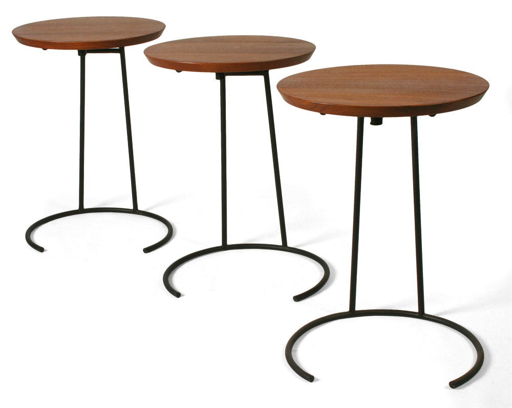 American Set of Three Wrought Iron and Walnut Stacking Tables by Jens Risom For Sale
