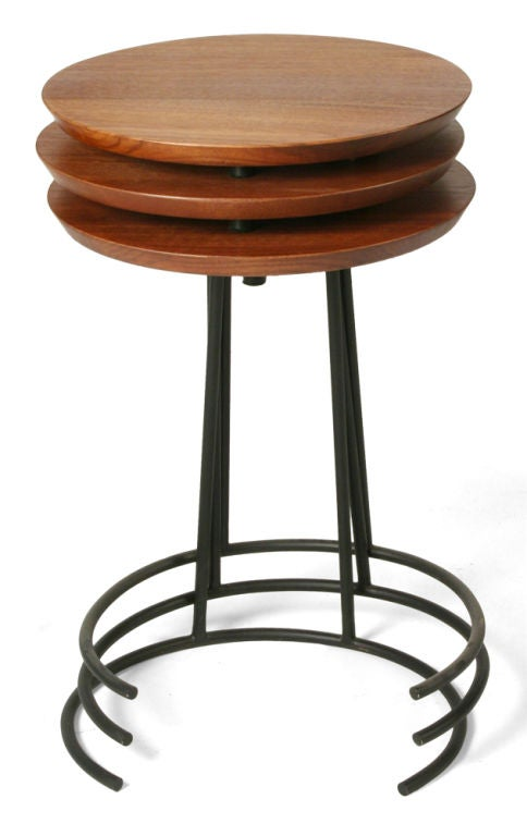 Set of Three Wrought Iron and Walnut Stacking Tables by Jens Risom In Excellent Condition For Sale In New York, NY