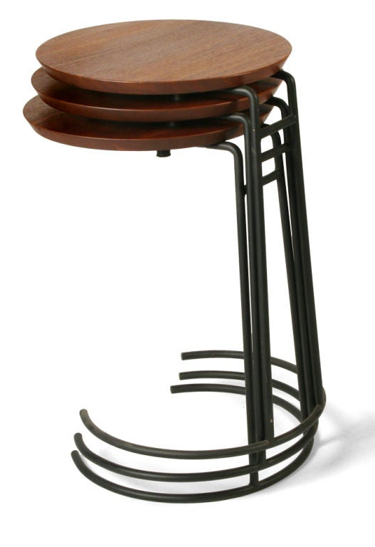 Mid-20th Century Set of Three Wrought Iron and Walnut Stacking Tables by Jens Risom For Sale