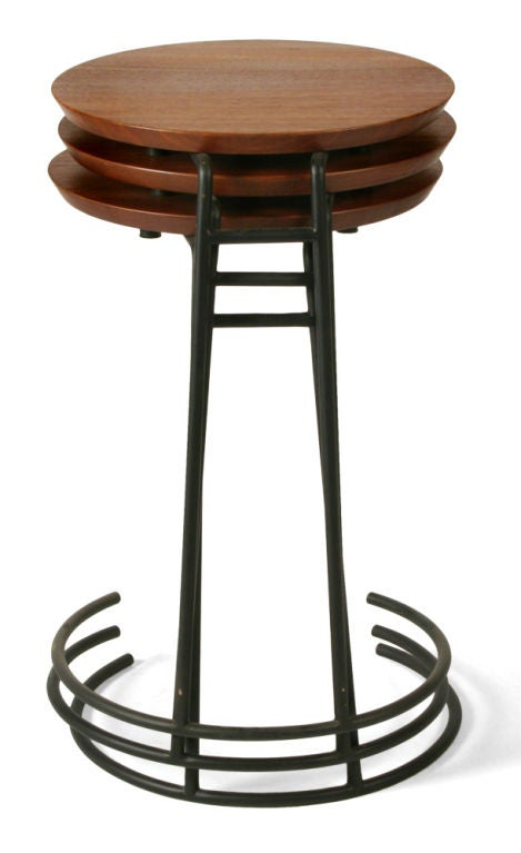 Set of Three Wrought Iron and Walnut Stacking Tables by Jens Risom For Sale 1