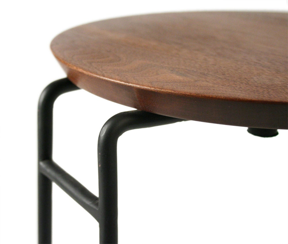 Set of Three Wrought Iron and Walnut Stacking Tables by Jens Risom For Sale 4