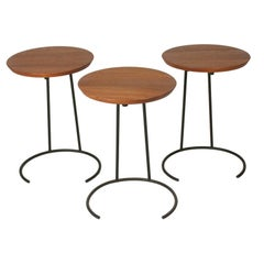 Set of Three Wrought Iron and Walnut Stacking Tables by Jens Risom