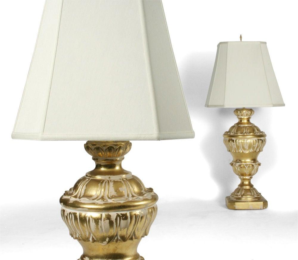 Pair of Monumental Parcel Gilt Plaster Table Lamps For Sale 1