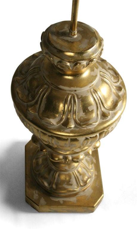 Pair of Monumental Parcel Gilt Plaster Table Lamps For Sale 2