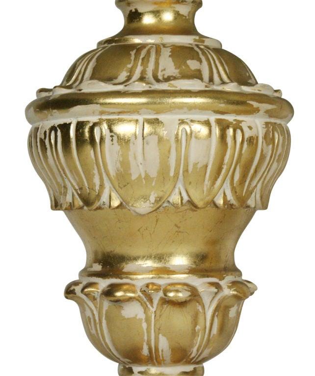 Pair of Monumental Parcel Gilt Plaster Table Lamps For Sale 3