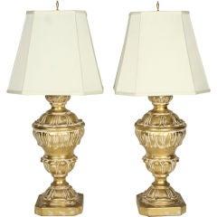 Pair of Monumental Parcel Gilt Plaster Table Lamps