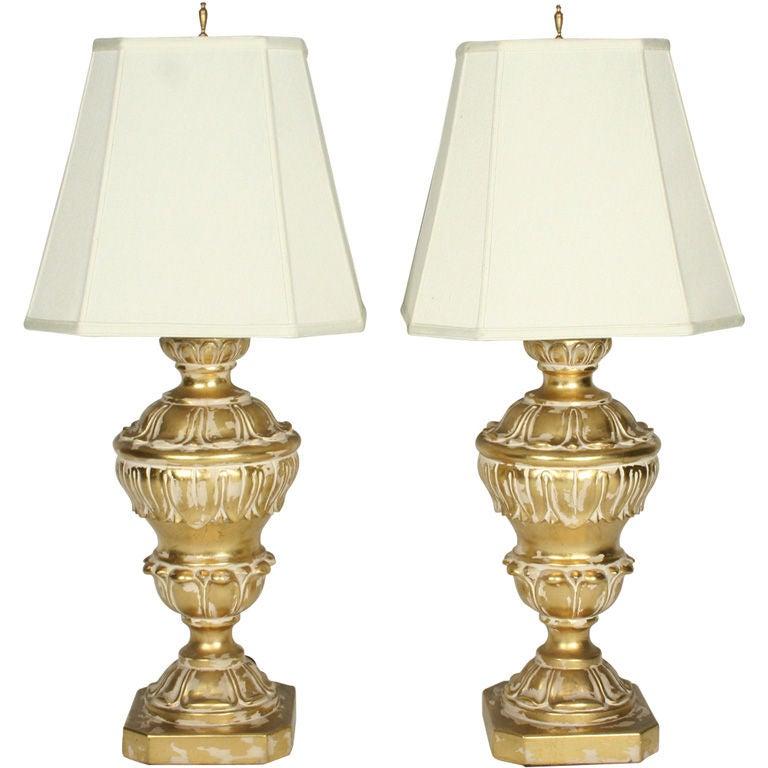 Pair of Monumental Parcel Gilt Plaster Table Lamps For Sale