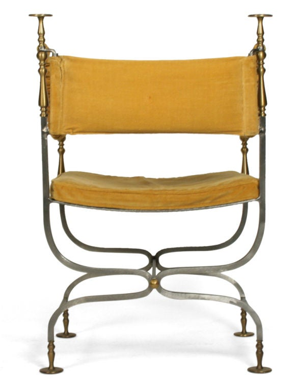 Velvet Italian Savonarola Chair For Sale