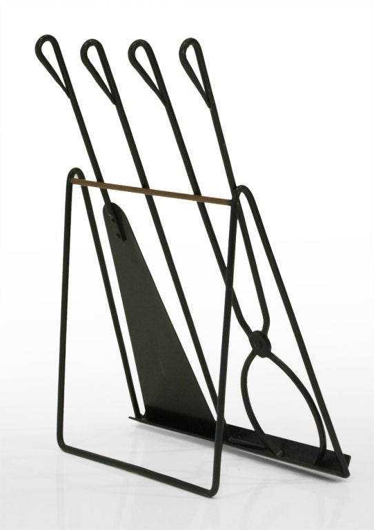 Enameled Easel Standing Fireplace Tool Set by Illums Bohlighus For Sale