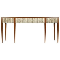 Silver Leaf Fluted Long Console by John Black for Baker