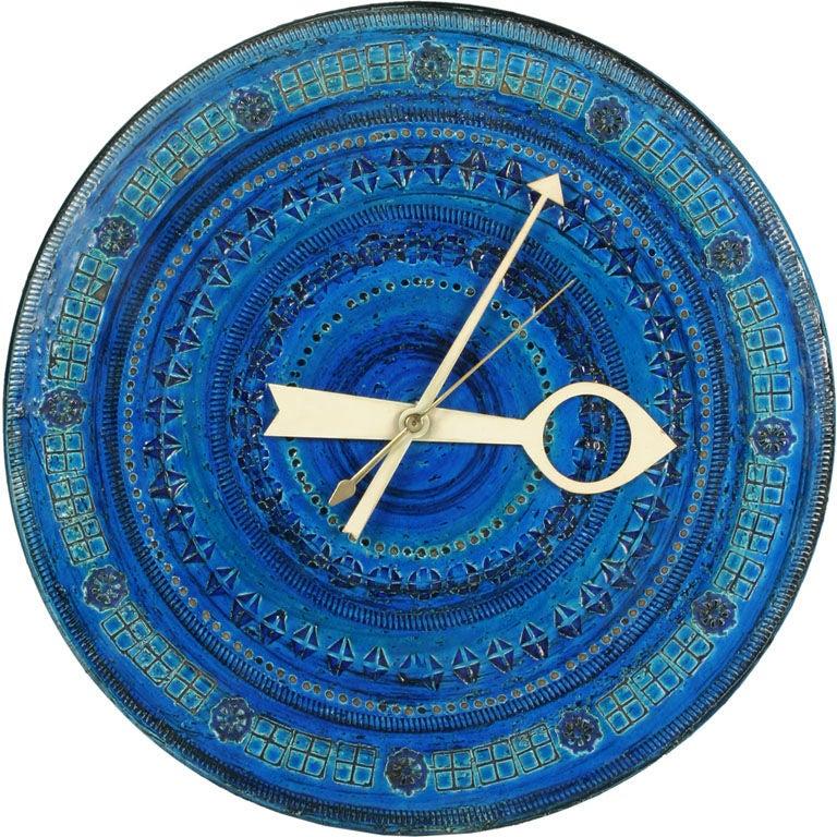 Azure Ceramic 'Meridian' Clock for Raymor at 1stdibs