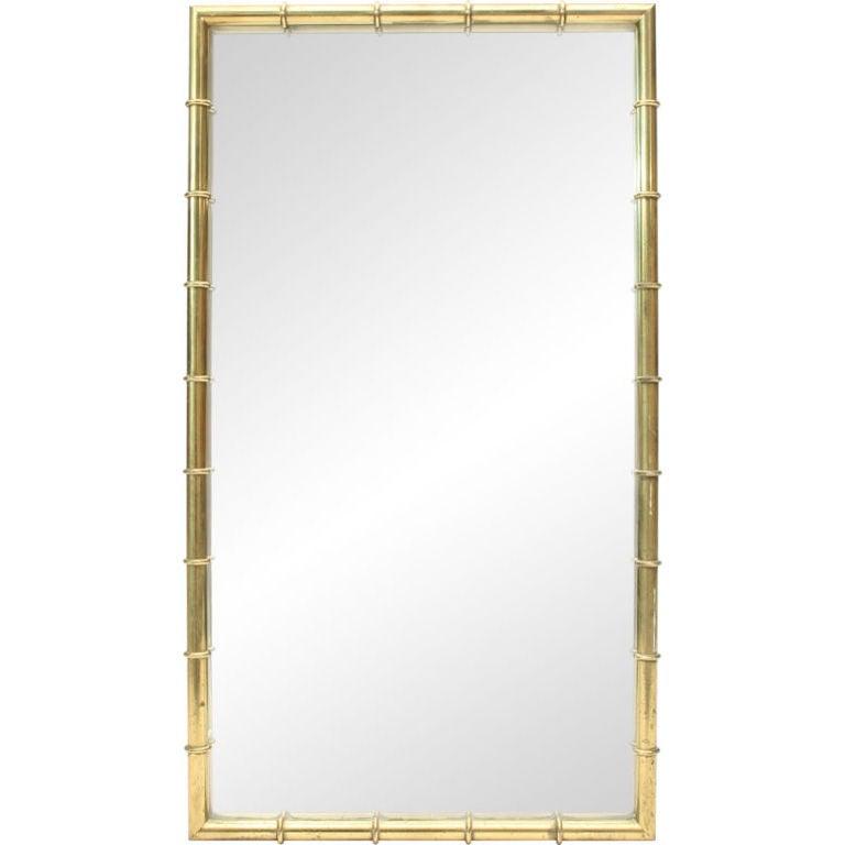 Rectangular Faux Bamboo Brass Mirror
