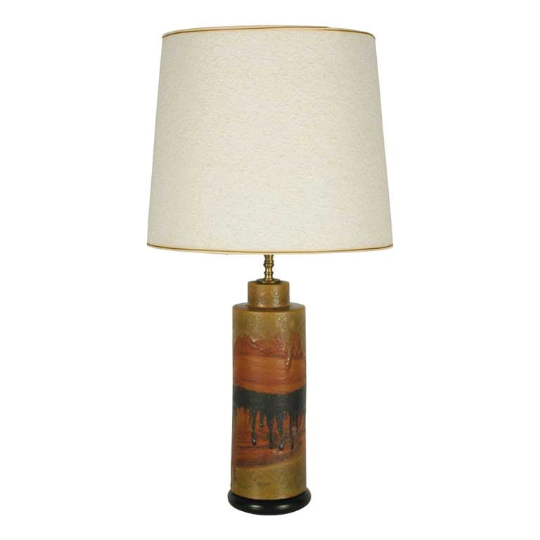 Desert Tone Drip Glaze Ceramic Table Lamp by Fantoni