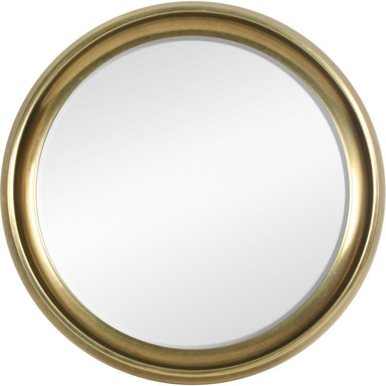 Circular Brass Framed Porthole Mirror by Mastercraft at 1stdibs