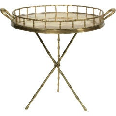 Faux Bamboo Brass Butler's Tray on Tripod Stand