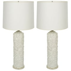 Pair of French White Plaster Pebble Table Lamps