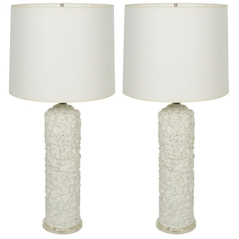 Pair of french white plaster pebble table lamps for sale at 1stdibs pair of french white plaster pebble table lamps for sale aloadofball Choice Image