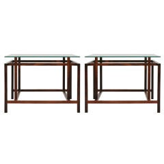 Pair of Rosewood Architectural Frame Side Tables by Komfort