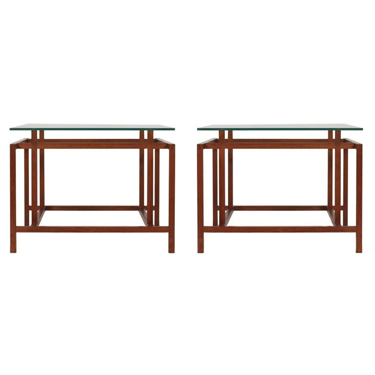 Pair of Teak Architectural Frame End Tables by Komfort