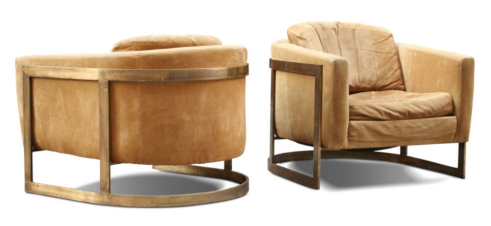 Pair of bronze frame upholstered barrel lounge chairs at 1stdibs