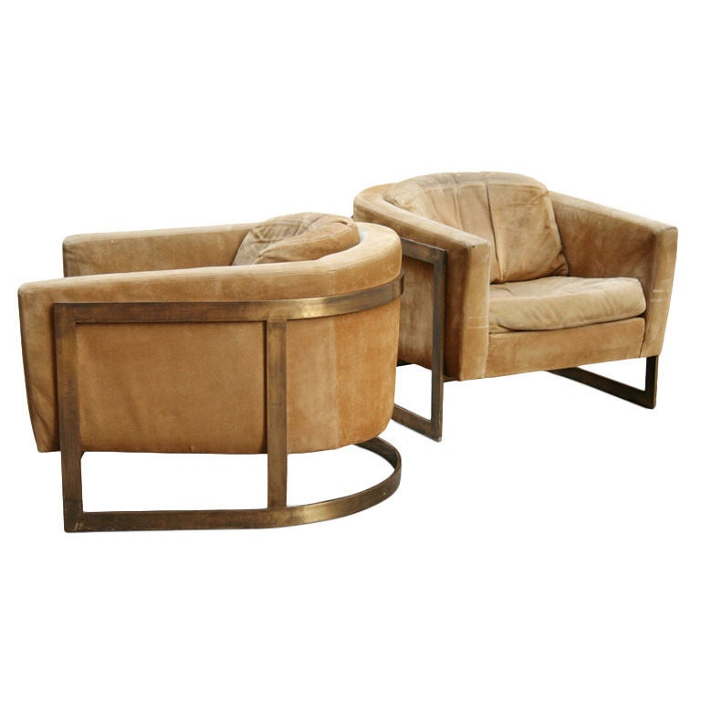 Pair of Bronze Frame Upholstered Barrel Lounge Chairs