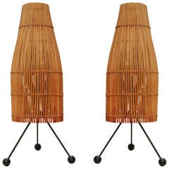 Pair of Wicker Fish Trap Table Lamps by Raymor