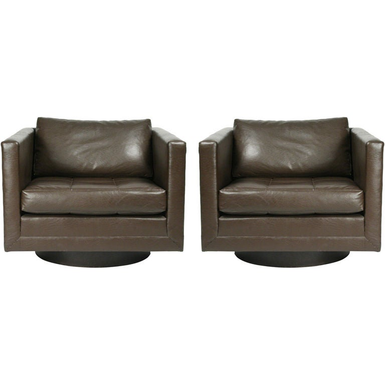 Pair of Swivel Cube Lounge Chairs by Harvey Probber For Sale