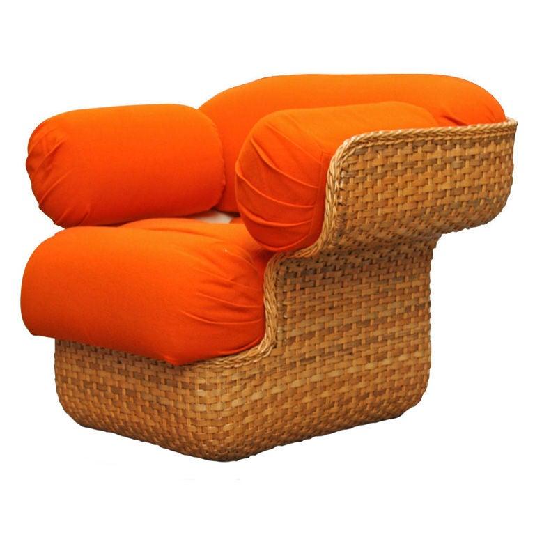 Voluptuous Basket Weave Armchair