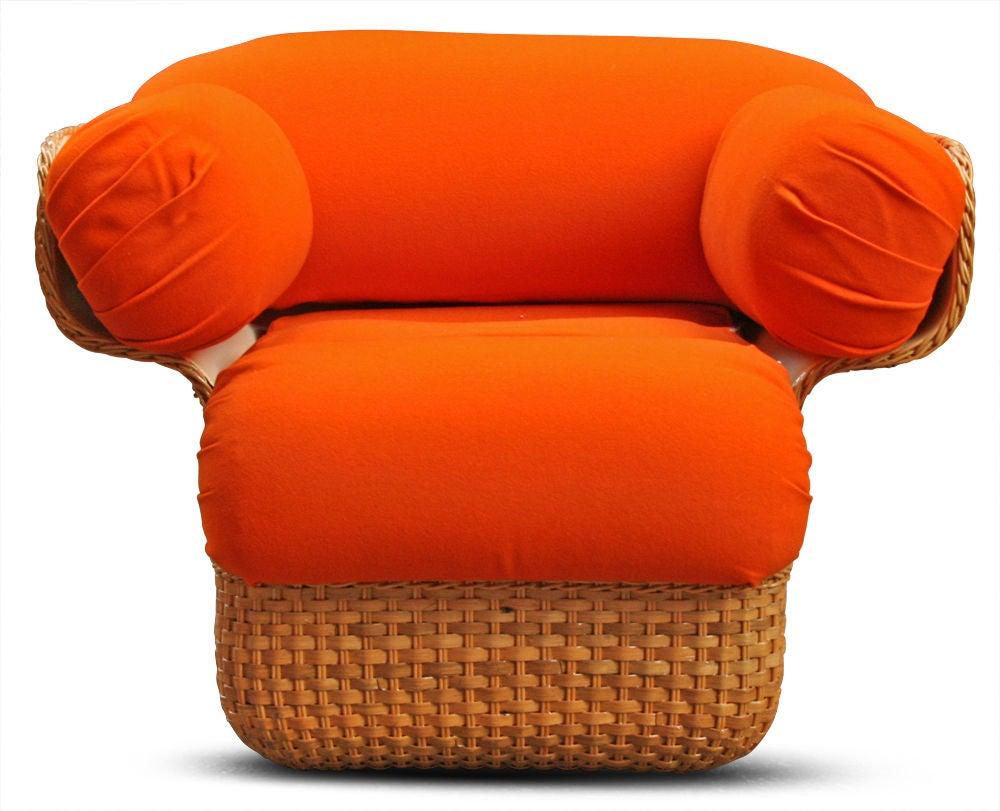 Italian Voluptuous Basket Weave Armchair For Sale