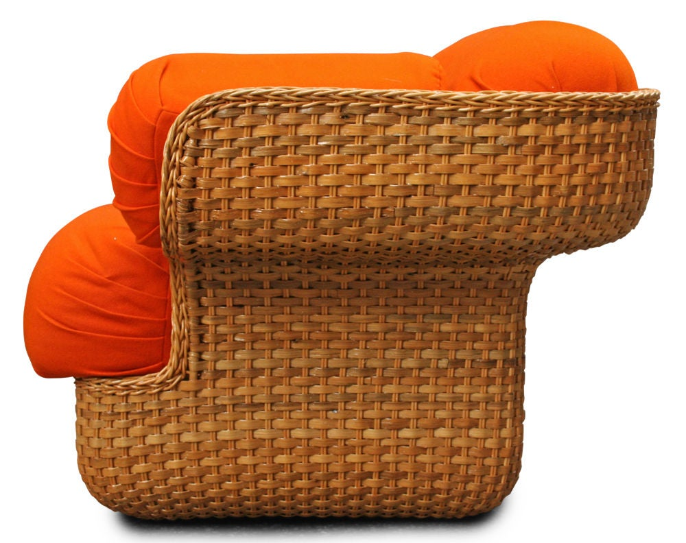Voluptuous Basket Weave Armchair In Excellent Condition For Sale In New York, NY