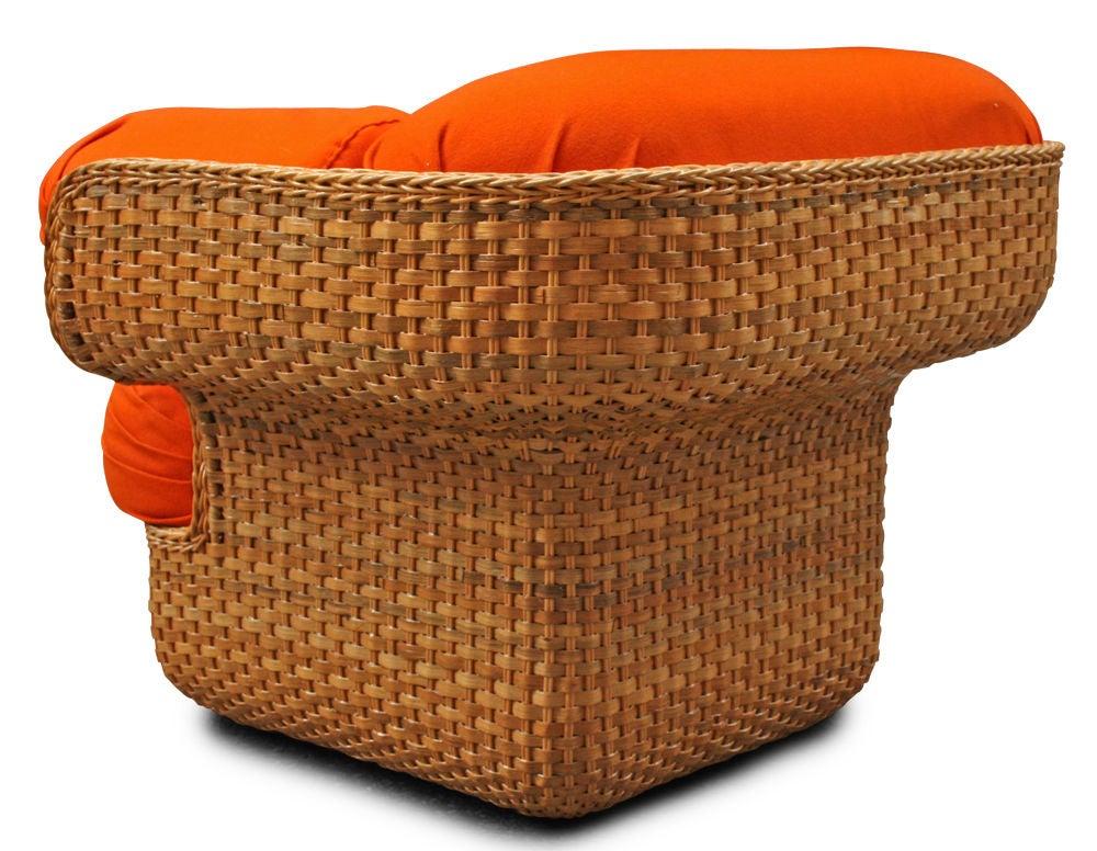 Mid-20th Century Voluptuous Basket Weave Armchair For Sale
