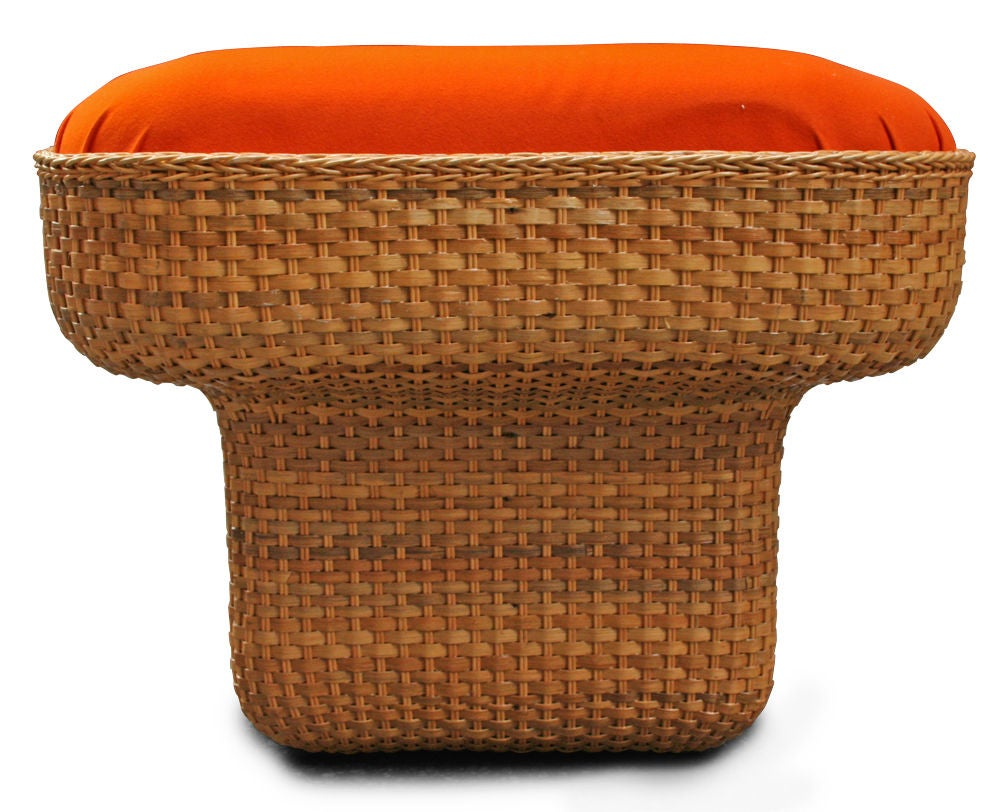 Upholstery Voluptuous Basket Weave Armchair For Sale