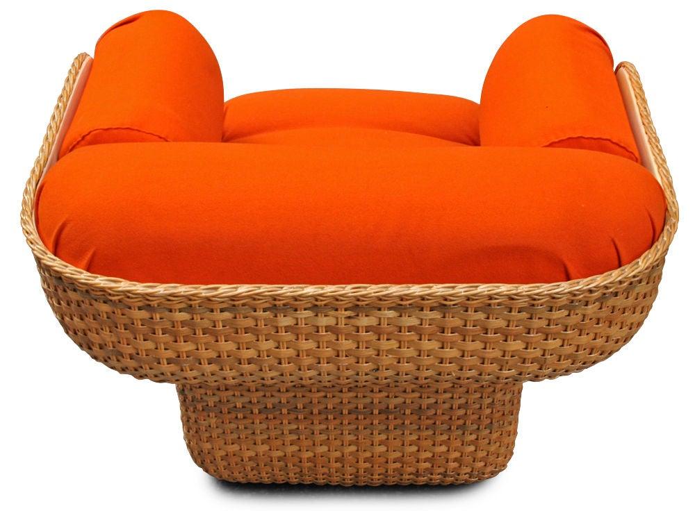 Voluptuous Basket Weave Armchair For Sale 1