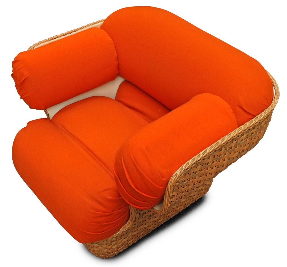 Voluptuous Basket Weave Armchair For Sale 2