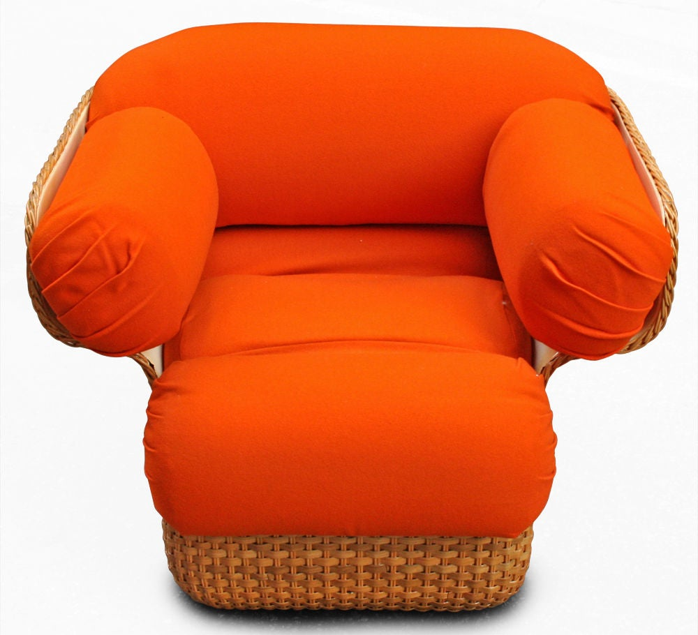 Voluptuous Basket Weave Armchair For Sale At 1stdibs