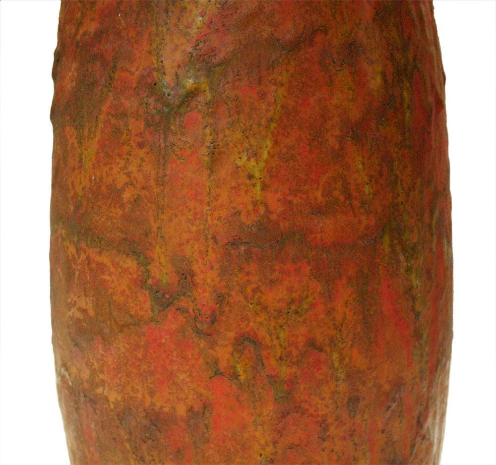 Italian Lava Glaze Ceramic Table Lamp after Fantoni For Sale