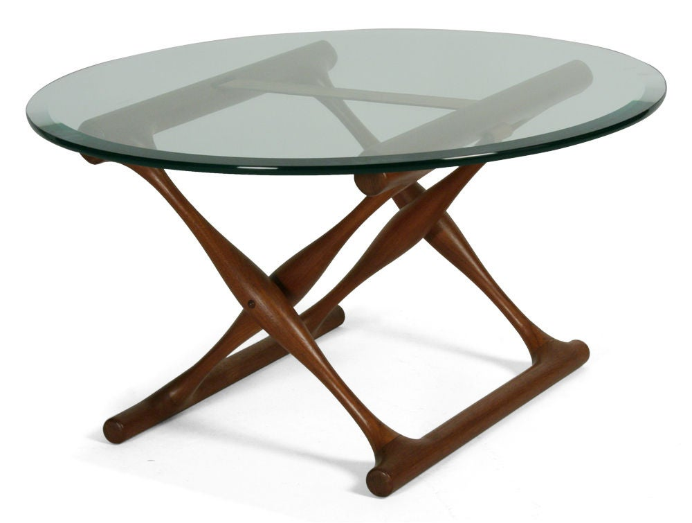 Teak folding x base occasional table by poul hundevad at - Folding glass coffee table ...