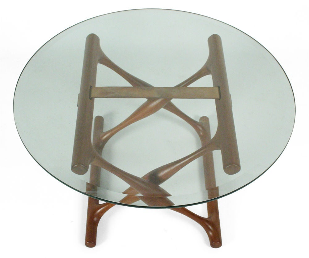 Teak folding x base occasional table by poul hundevad for - Folding glass coffee table ...
