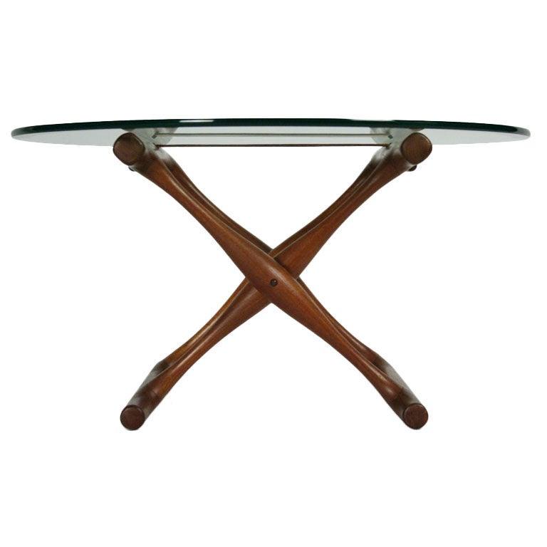 Teak Folding X-Base Occasional Table by Poul Hundevad
