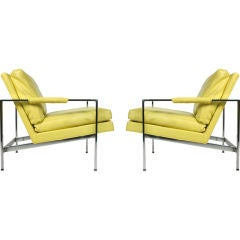 Pair of Lemon Yellow Upholstered Lounge Chairs by Milo Baughman