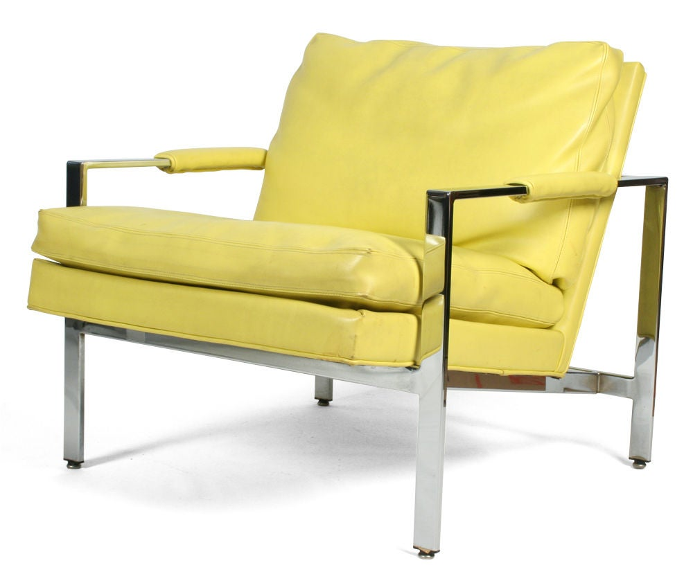 Pair Of Lemon Yellow Upholstered Lounge Chairs By Milo Baughman 2