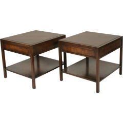 Pair of Mahogany Parquet Lamp Tables for John Stuart