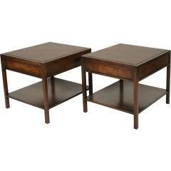 Pair of Mahogany Parquet Lamp Tables for John Stuart