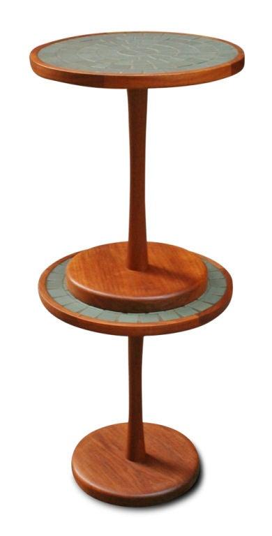 Pair of tile top pedestal tables by gordon martz at 1stdibs - Ceramic pedestal table base ...