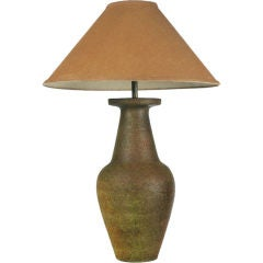 Raku Glazed Ceramic Amphora Table Lamp by Fantoni for Raymor