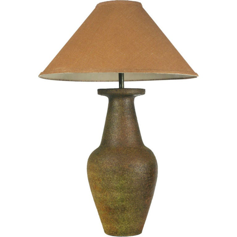 Raku Glazed Ceramic Amphora Table Lamp by Fantoni for Raymor