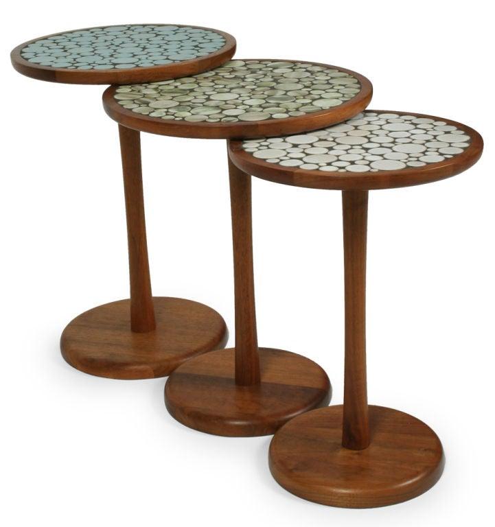 Set of 3 ceramic tile top pedestal tables by gordon martz at 1stdibs - Ceramic pedestal table base ...